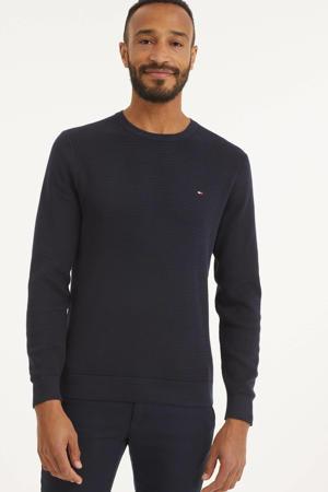 fijngebreide trui met textuur donkerblauw