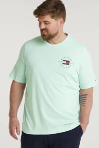 Tommy Hilfiger Big & Tall +size T-shirt Plus Size van biologisch katoen mintgroen, Mintgroen