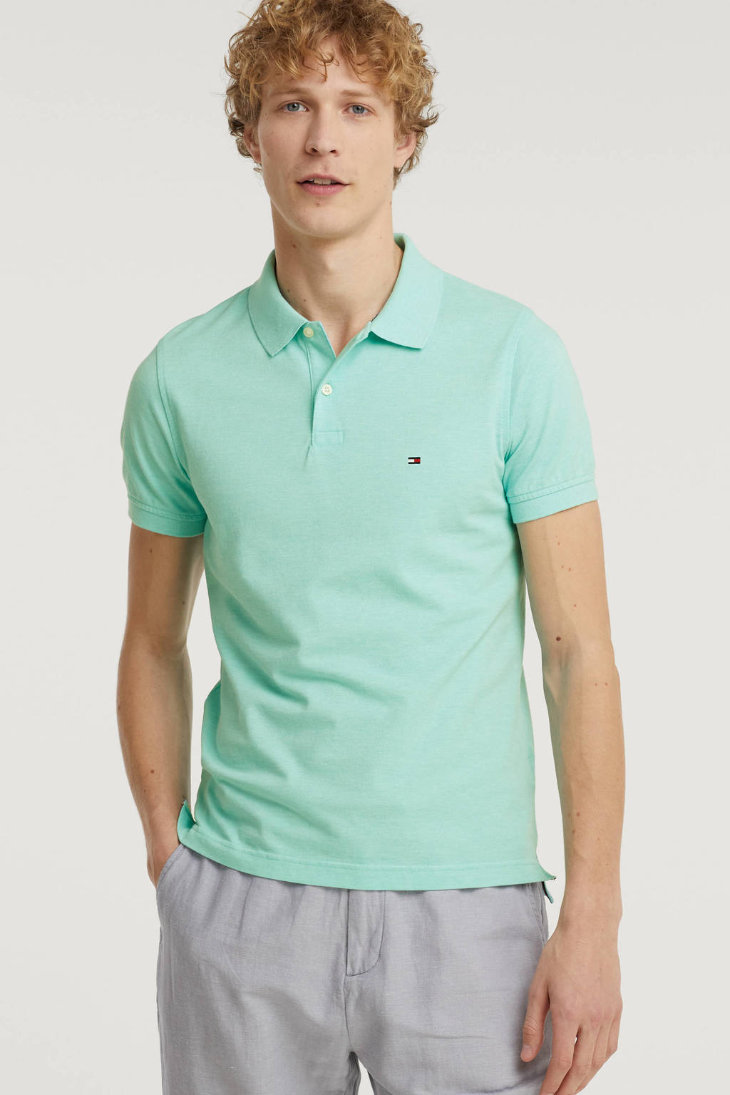 Tommy Hilfiger slim fit polo turquoise, Turquoise