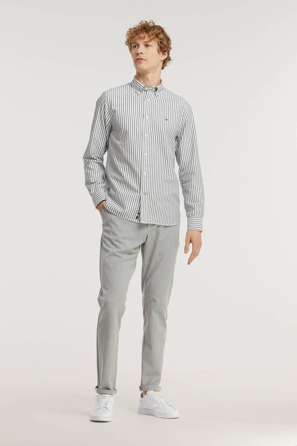Tommy Hilfiger gestreept regular fit overhemd van biologisch katoen donkerblauw/wit, Donkerblauw/wit