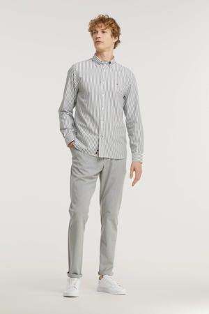gestreept regular fit overhemd van biologisch katoen donkerblauw/wit