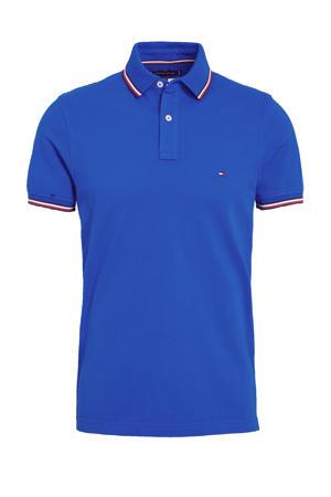 slim fit polo met contrastbies kobaltblauw