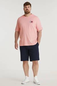 Tommy Hilfiger Big & Tall +size T-shirt Plus Size van biologisch katoen lichtroze, Lichtroze