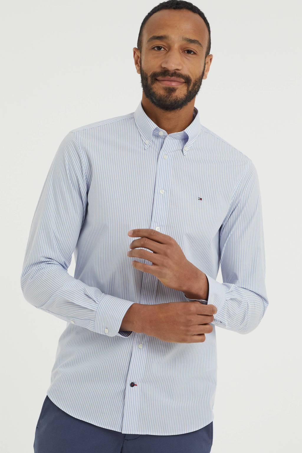 Tommy Hilfiger gestreept regular fit overhemd van biologisch katoen lichtblauw/wit, Lichtblauw/wit