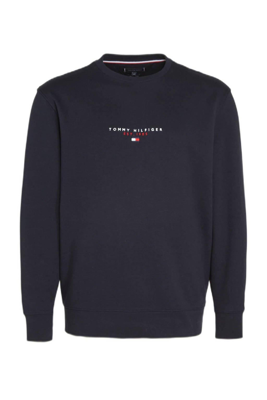 Tommy Hilfiger Big & Tall +size sweater Plus Size van biologisch katoen donkerblauw, Donkerblauw