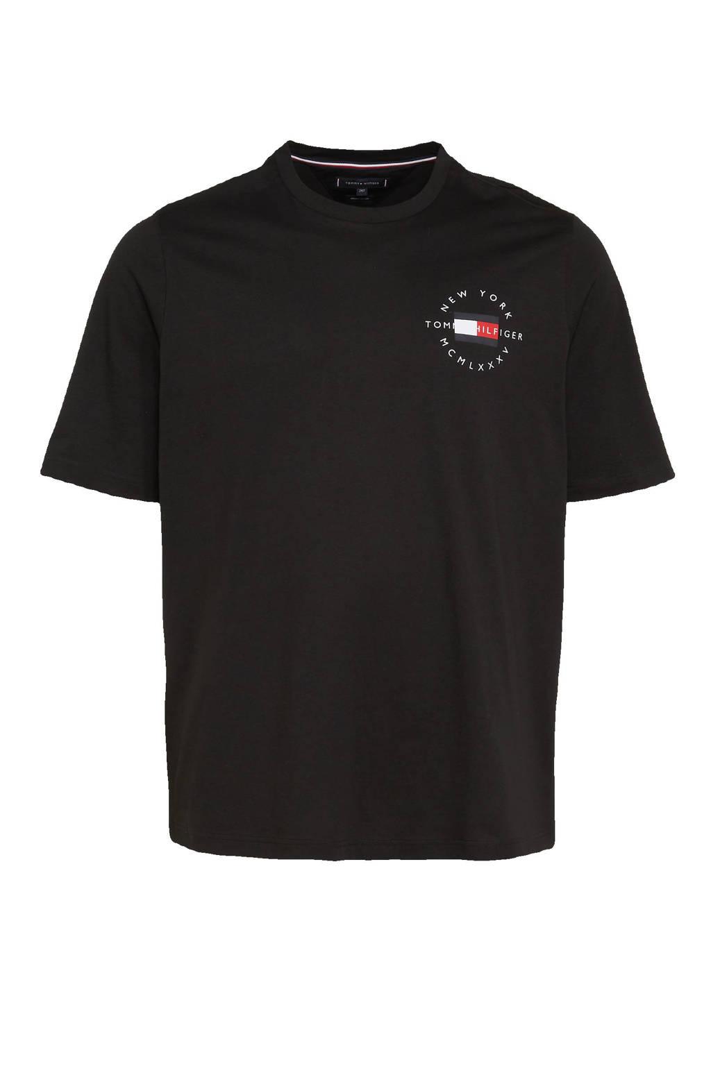 Tommy Hilfiger Big & Tall +size T-shirt Plus Size van biologisch katoen zwart, Zwart