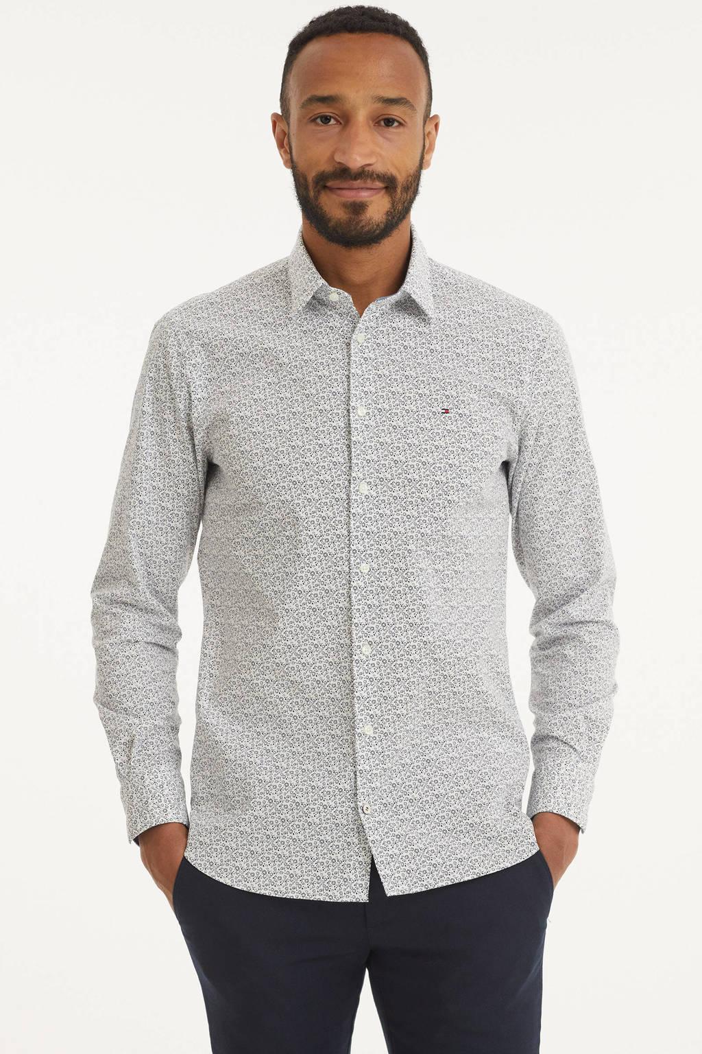 Tommy Hilfiger slim fit overhemd met all over print wit/blauw, Wit/blauw