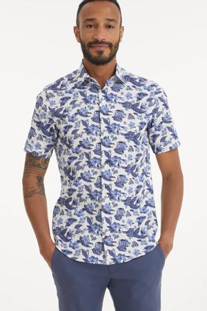 gebloemd slim fit overhemd blauw/wit
