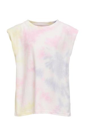 tie-dye top Amy wit/roze/geel
