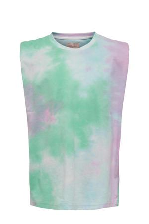 tie-dye top Amy wit/roze/groen