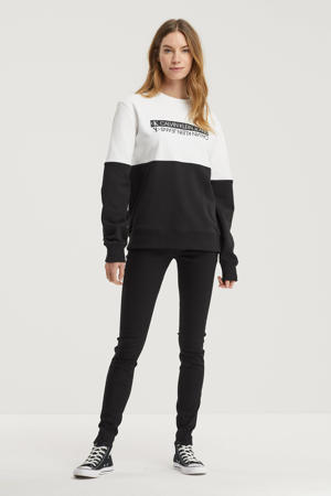 sweater van biologisch katoen wit/zwart