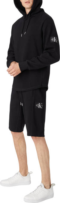 CALVIN KLEIN JEANS regular fit sweatshort met logo en textuur zwart, Zwart