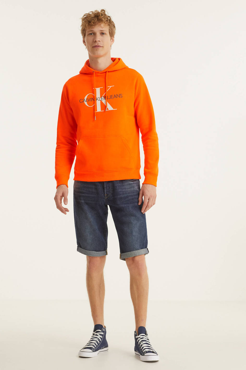 CALVIN KLEIN JEANS hoodie met logo oranje, Oranje