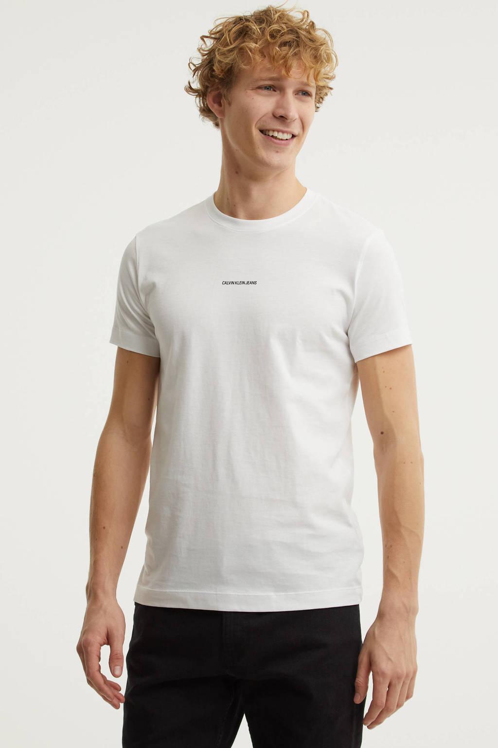 CALVIN KLEIN JEANS basic T-shirt van biologisch katoen wit, Wit