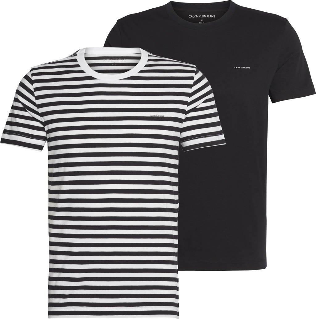 CALVIN KLEIN JEANS T-shirt (set van 2) zwart/wit, Zwart/wit