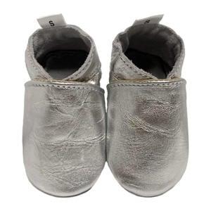 leren babyslofjes zilver