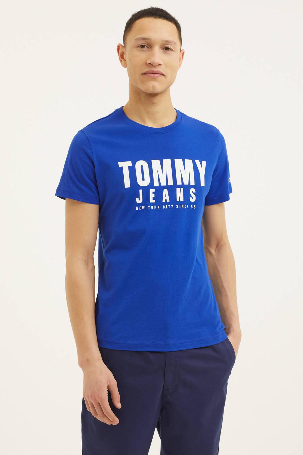 Tommy Jeans T-shirt van biologisch katoen kobalt blauw, Kobalt blauw