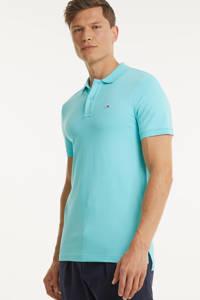 Tommy Jeans slim fit polo met biologisch katoen blauw, Blauw