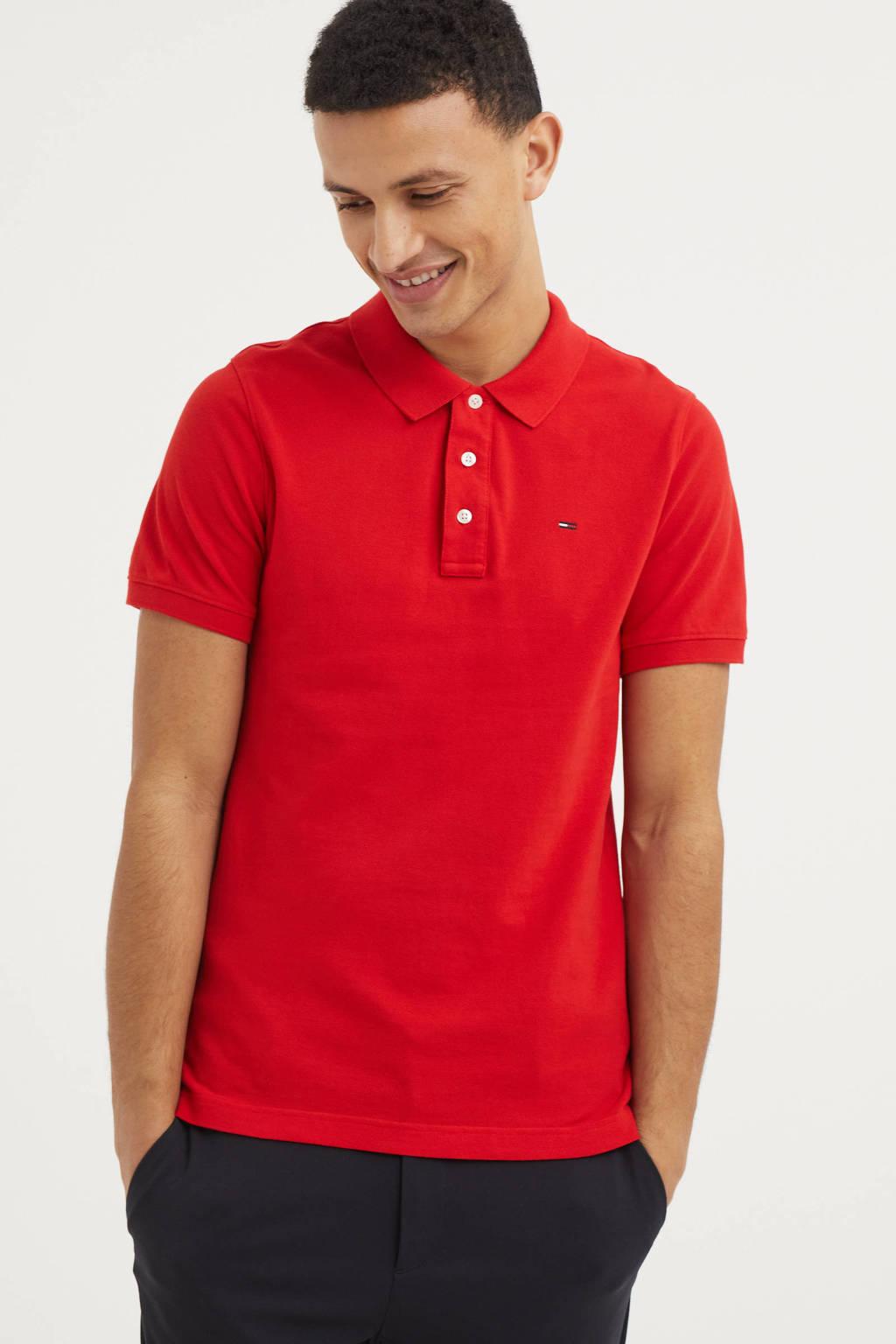 Tommy Jeans regular fit polo van biologisch katoen rood, Rood