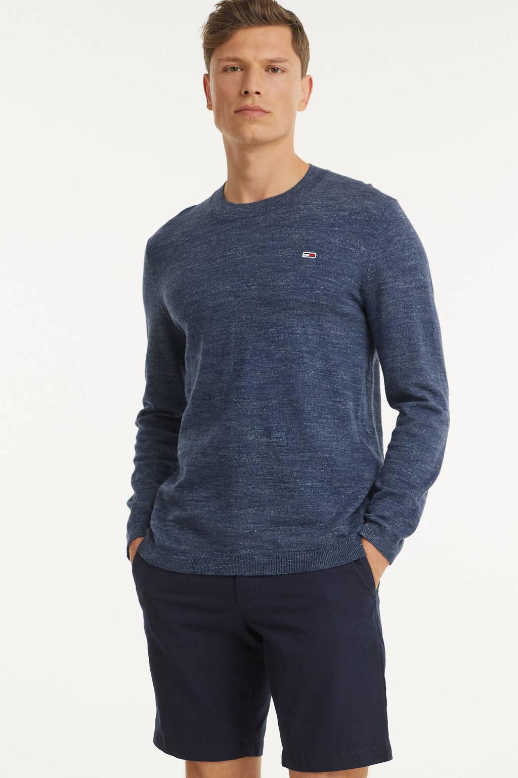 Tommy Jeans gemêleerde hoodie Heather van biologisch katoen donkerblauw, Donkerblauw