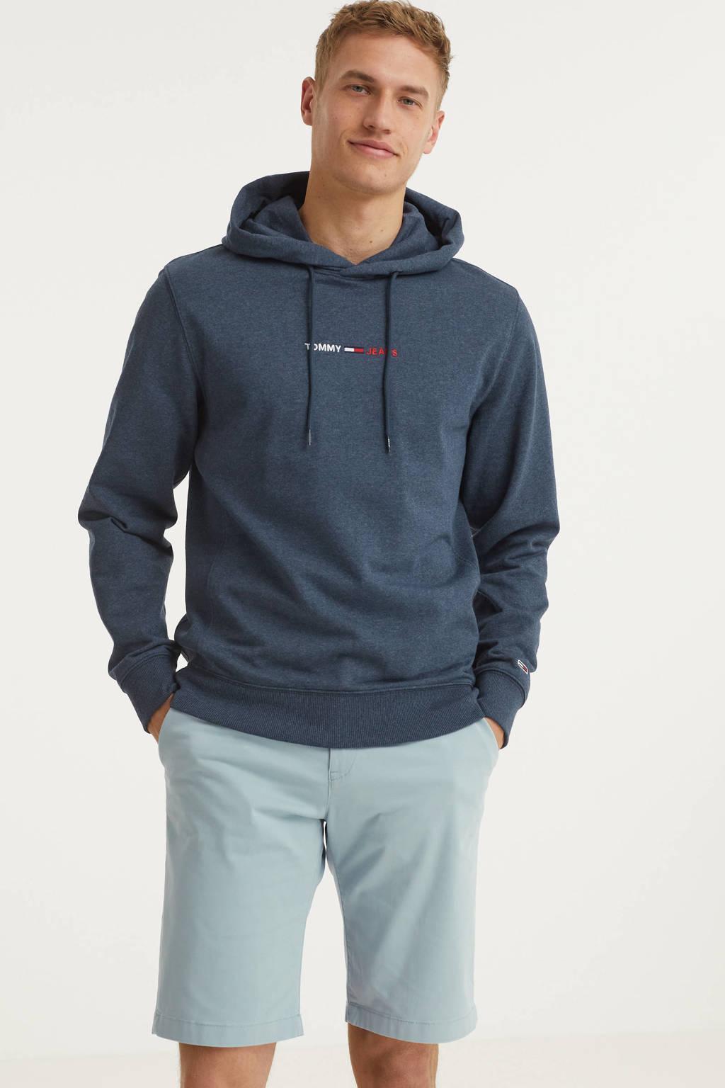 Tommy Jeans hoodie met biologisch katoen donkerblauw melange, Donkerblauw melange