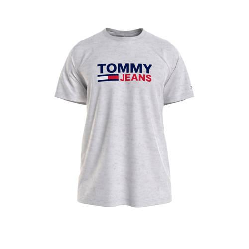 Tommy Jeans T-shirt van biologisch katoen lichtgrijs melange