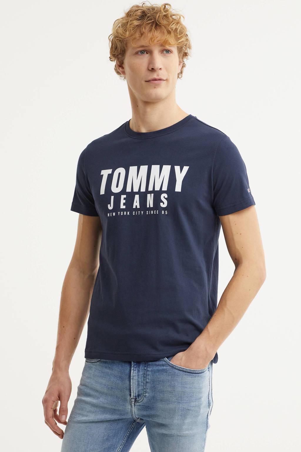 Tommy Jeans T-shirt van biologisch katoen donkerblauw, Donkerblauw