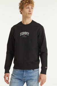 Tommy Jeans sweater met logo zwart, Zwart