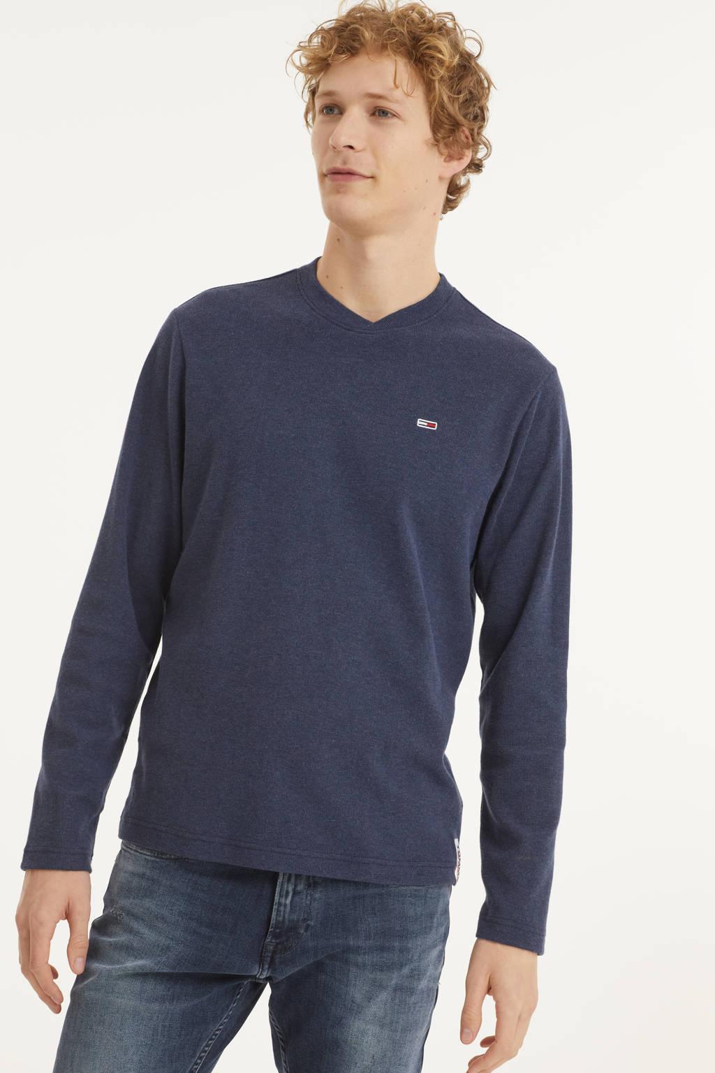 Tommy Jeans longsleeve donkerblauw, Donkerblauw