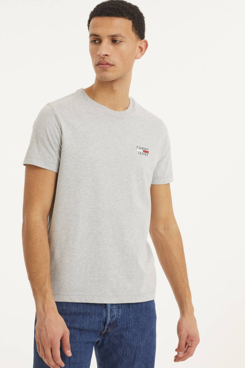 Tommy Jeans T-shirt van biologisch katoen lichtgrijs, Lichtgrijs