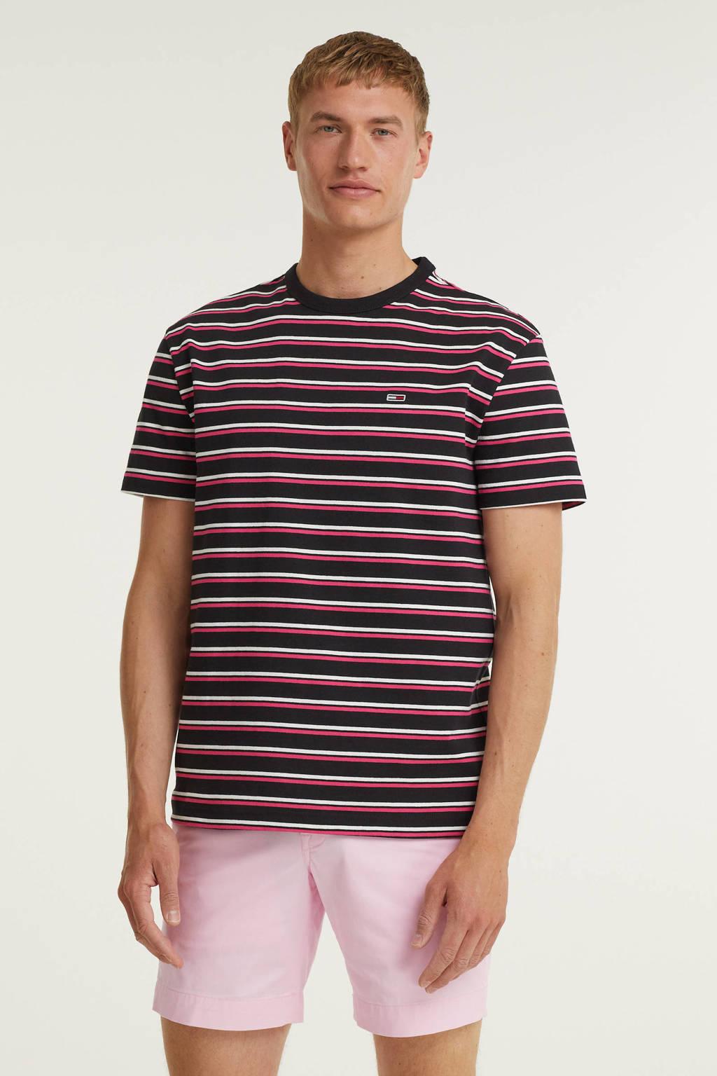 Tommy Jeans gestreept T-shirt van biologisch katoen zwart/roze, Zwart/roze