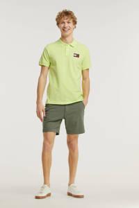 Tommy Jeans regular fit polo van biologisch katoen limegroen, Limegroen