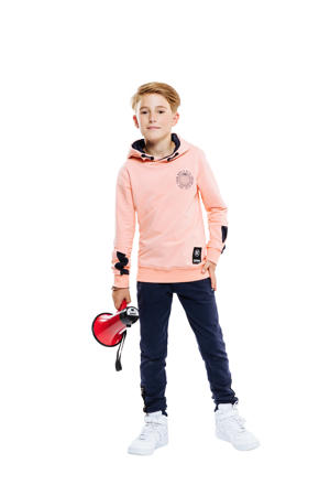 hoodie met printopdruk zalmroze/zwart