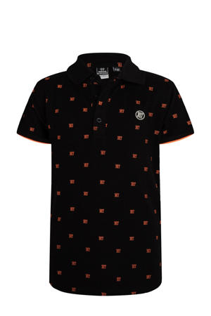 polo met all over print zwart/oranje