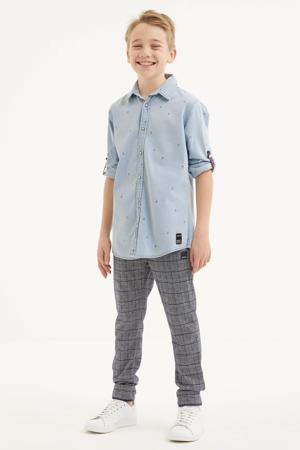 geruite skinny broek donkerblauw