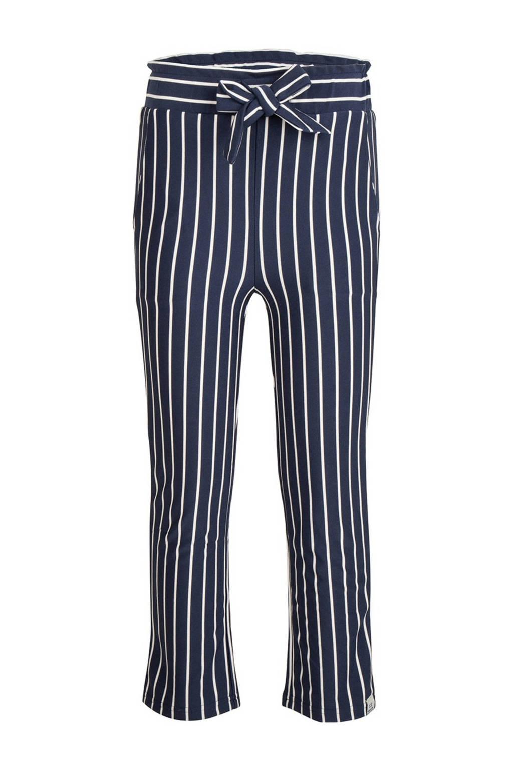 Indian Blue Jeans gestreepte loose fit broek donkerblauw/wit, Donkerblauw/wit