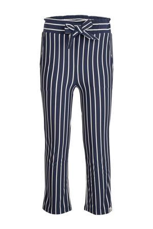 gestreepte loose fit broek donkerblauw/wit