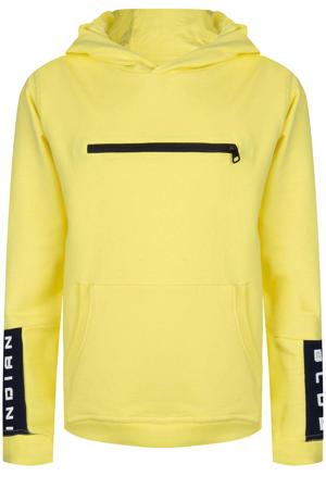 hoodie met tekst zachtgeel/zwart
