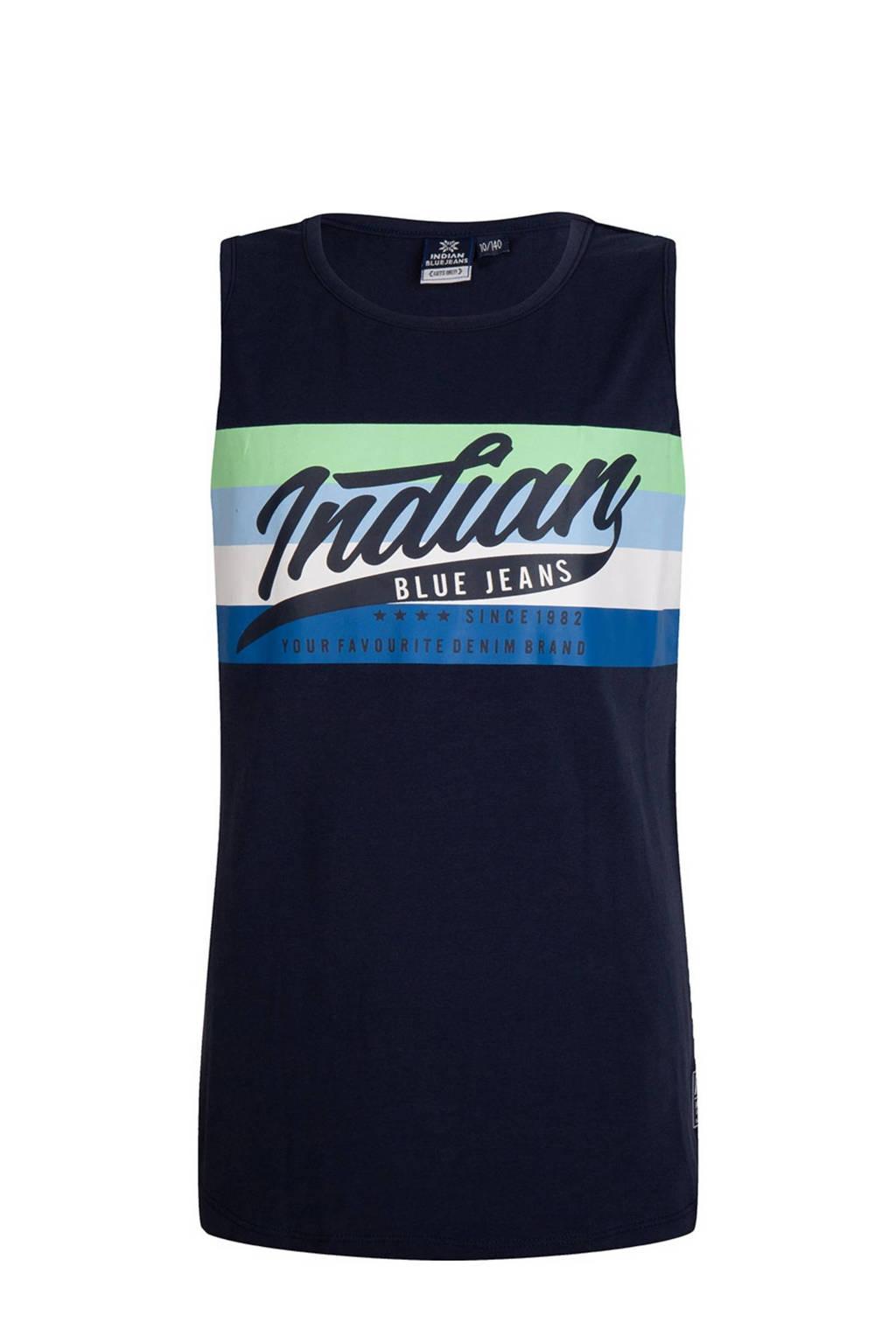 Indian Blue Jeans mouwloos T-shirt met printopdruk donkerblauw, Donkerblauw