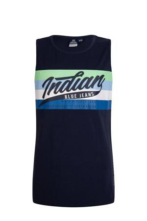mouwloos T-shirt met printopdruk donkerblauw