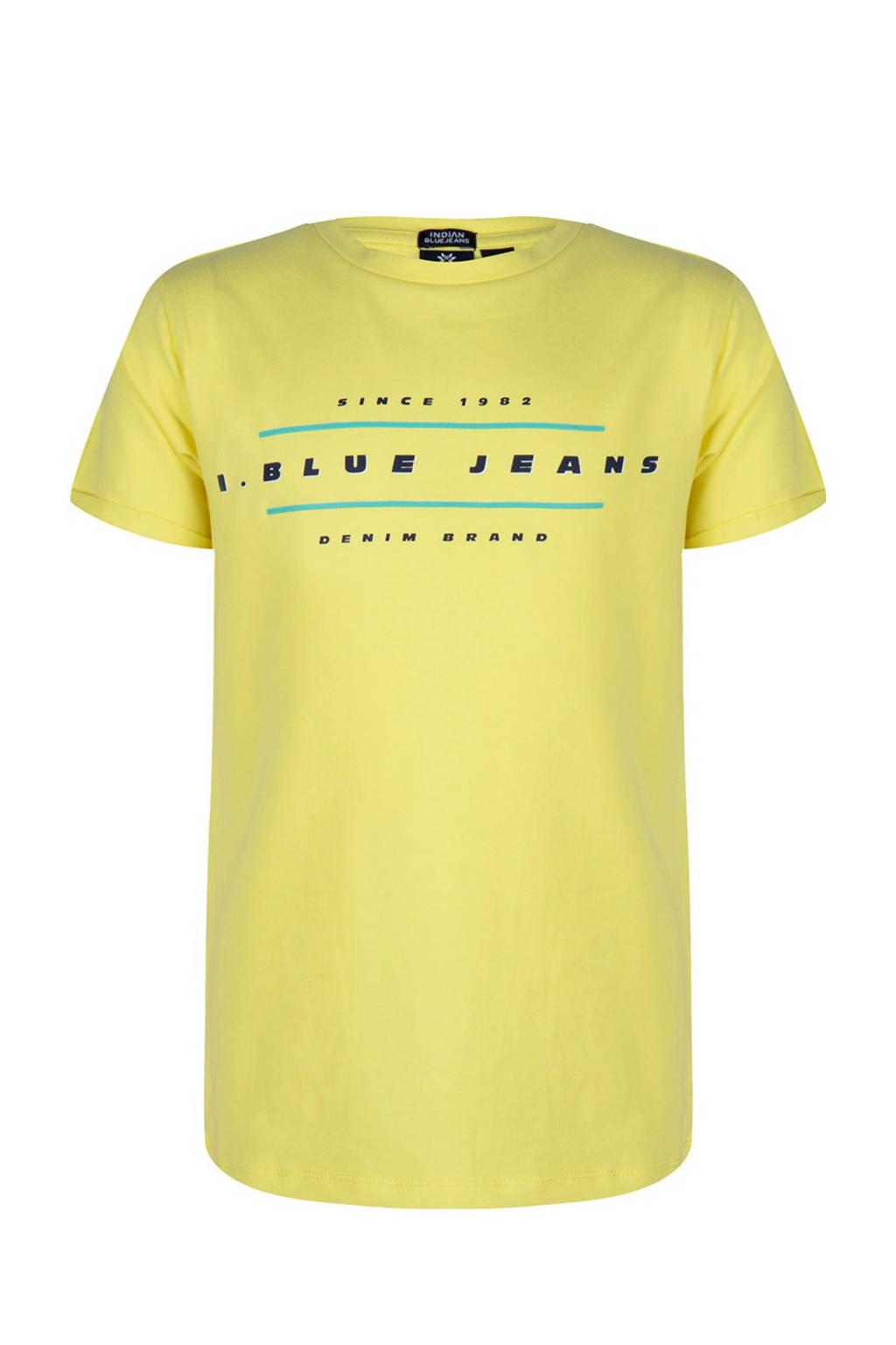 Indian Blue Jeans T-shirt met printopdruk zachtgeel, Zachtgeel
