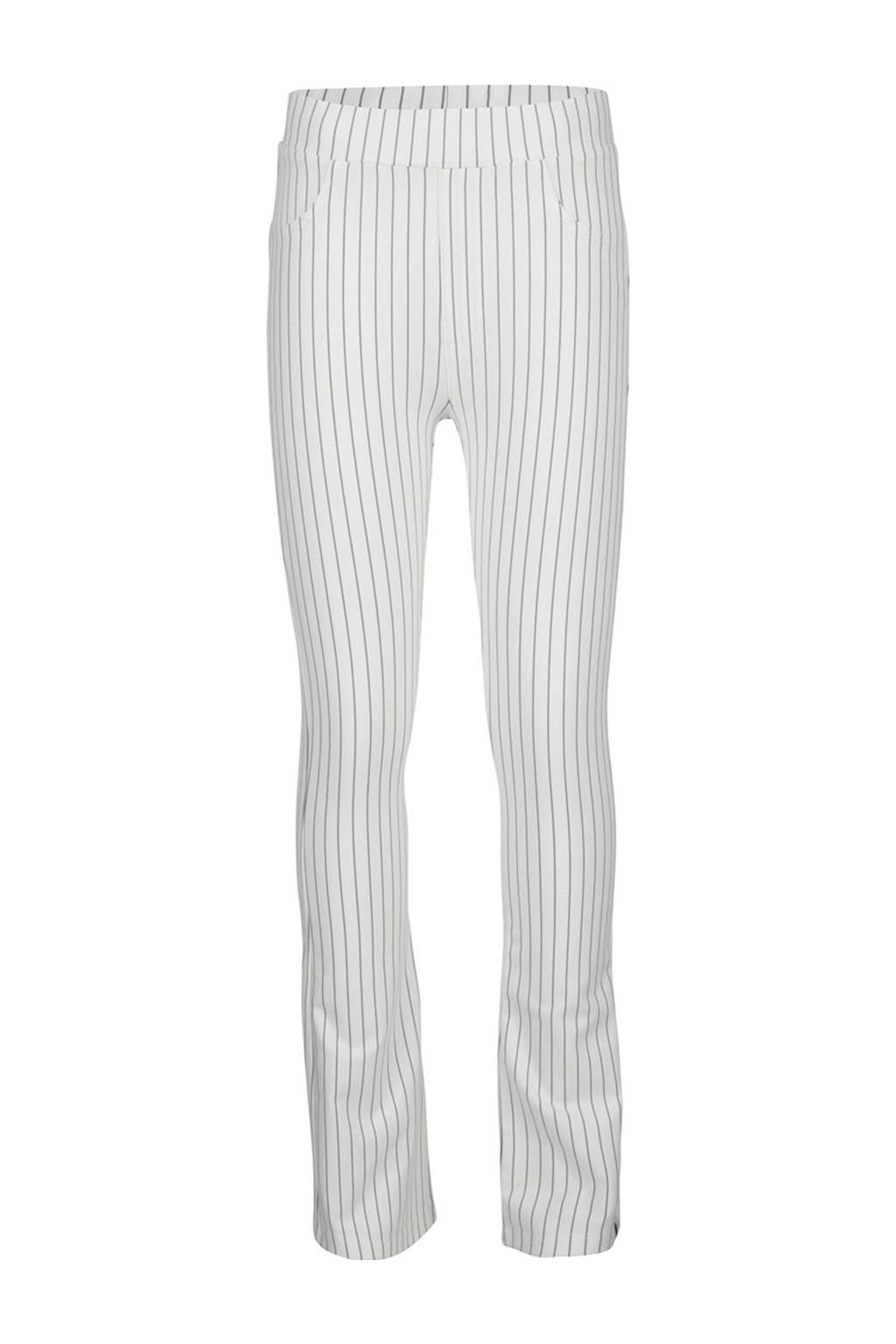 Indian Blue Jeans gestreepte flared broek offwhite/zwart, Offwhite/zwart