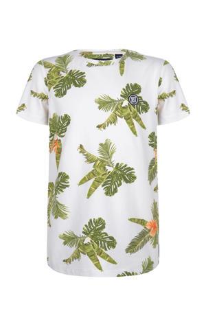T-shirt met bladprint offwhite/groen