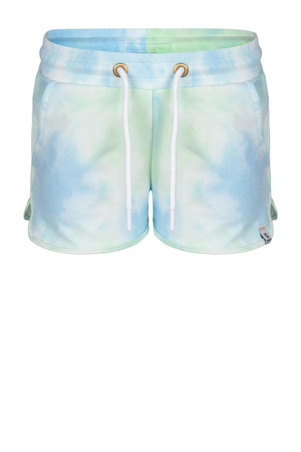 Indian Blue Jeans tie-dyeregular fit short mintgroen/lichtblauw