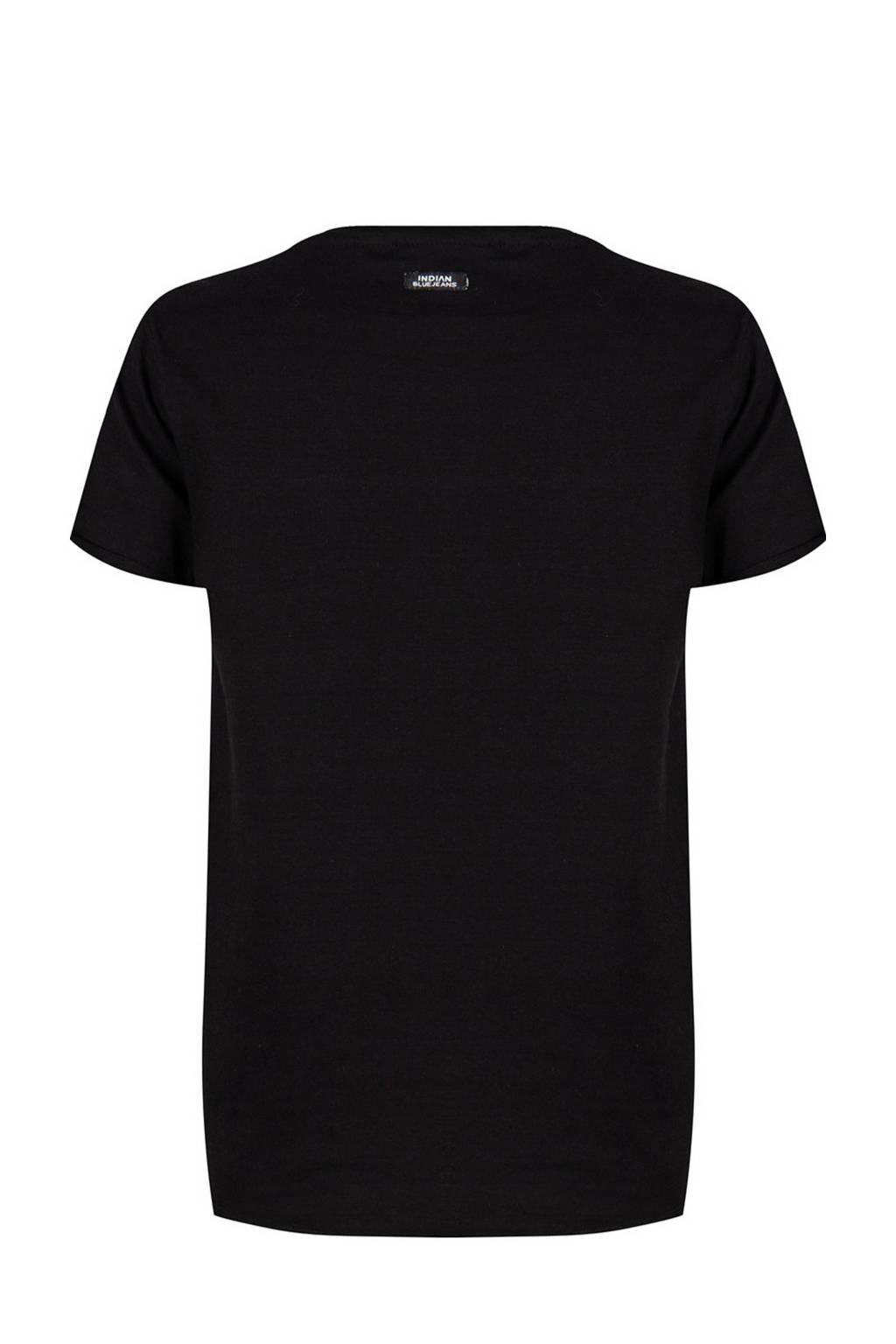 Indian Blue Jeans T-shirt met logo zwart, Zwart
