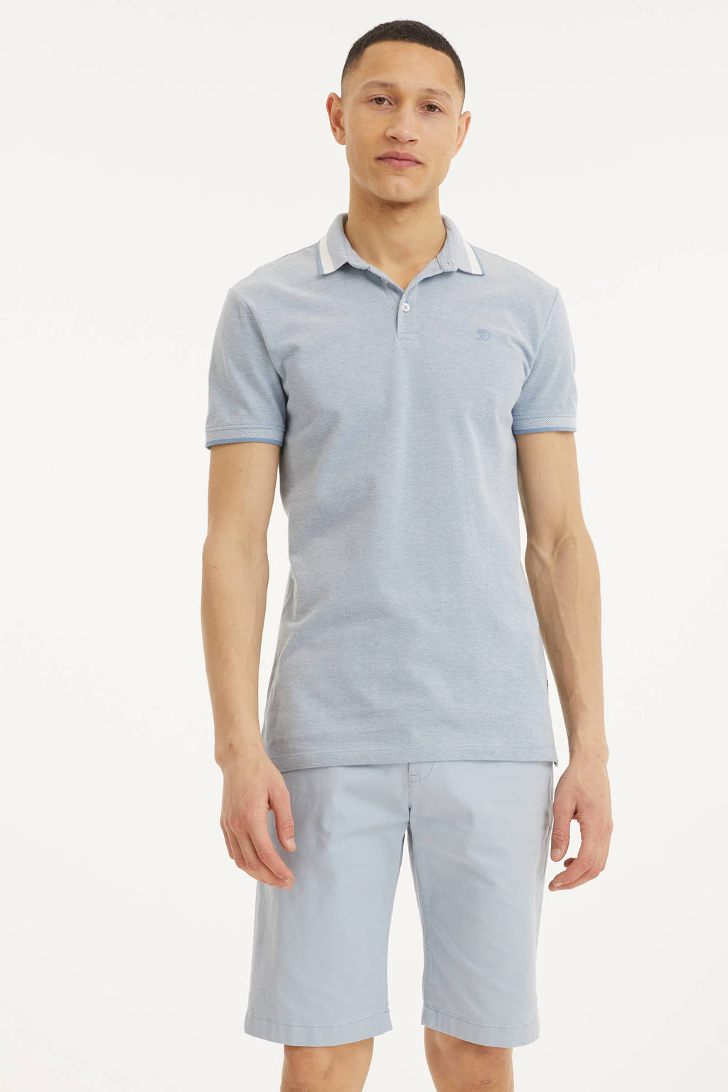Tom Tailor Denim gemêleerde regular fit polo lichtblauw, Lichtblauw