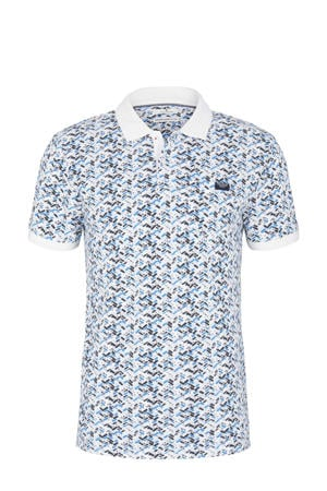 regular fit polo met all over print lichtblauw/wit