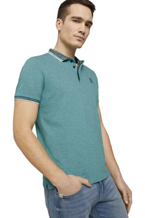 gemêleerde slim fit polo aquagroen