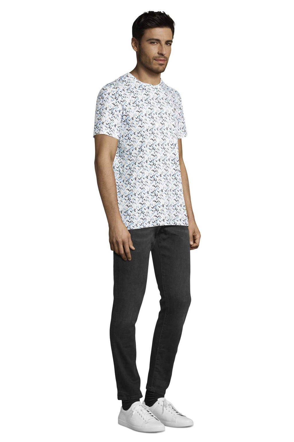 Tom Tailor T-shirt met all over print wit/blauw, Wit/blauw