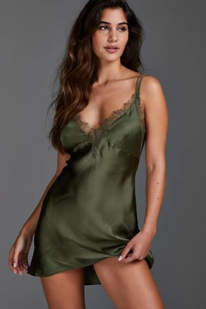 satijnlook slipdress Lily met kant groen